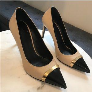 Authentic Saint Laurent nude/black heels